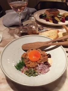 Steak tartare: going to 'work' on an egg