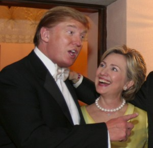 Best mates? The Donald will have to get past the former First Lady to get into the White House