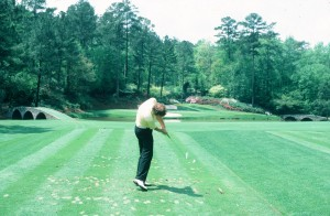 This is a photo of me about 30 years ago doing what Jordan Spieth did yesterday - pushing me tee shot on the 12th at Augusta into the water