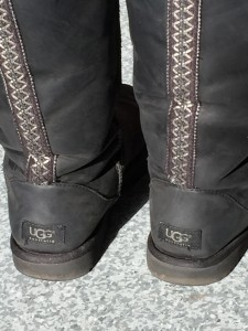 The backside of a pair of Uggs