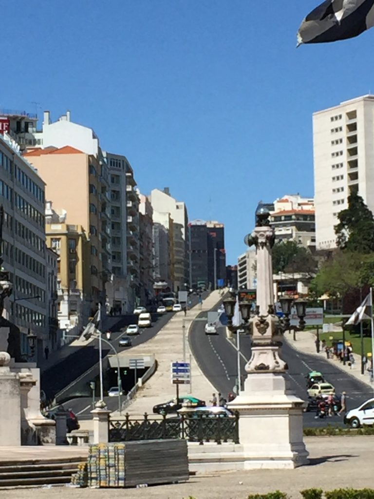 Hey, that's a bit steep! Traffic climbs away from the Rotunda Marques de Pombal in the heart of Lisbon